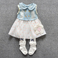 new 2016 summer denim patchwork baby dresses fashion Washed denim dress for baby girls clothes polka dot girl dress newborn