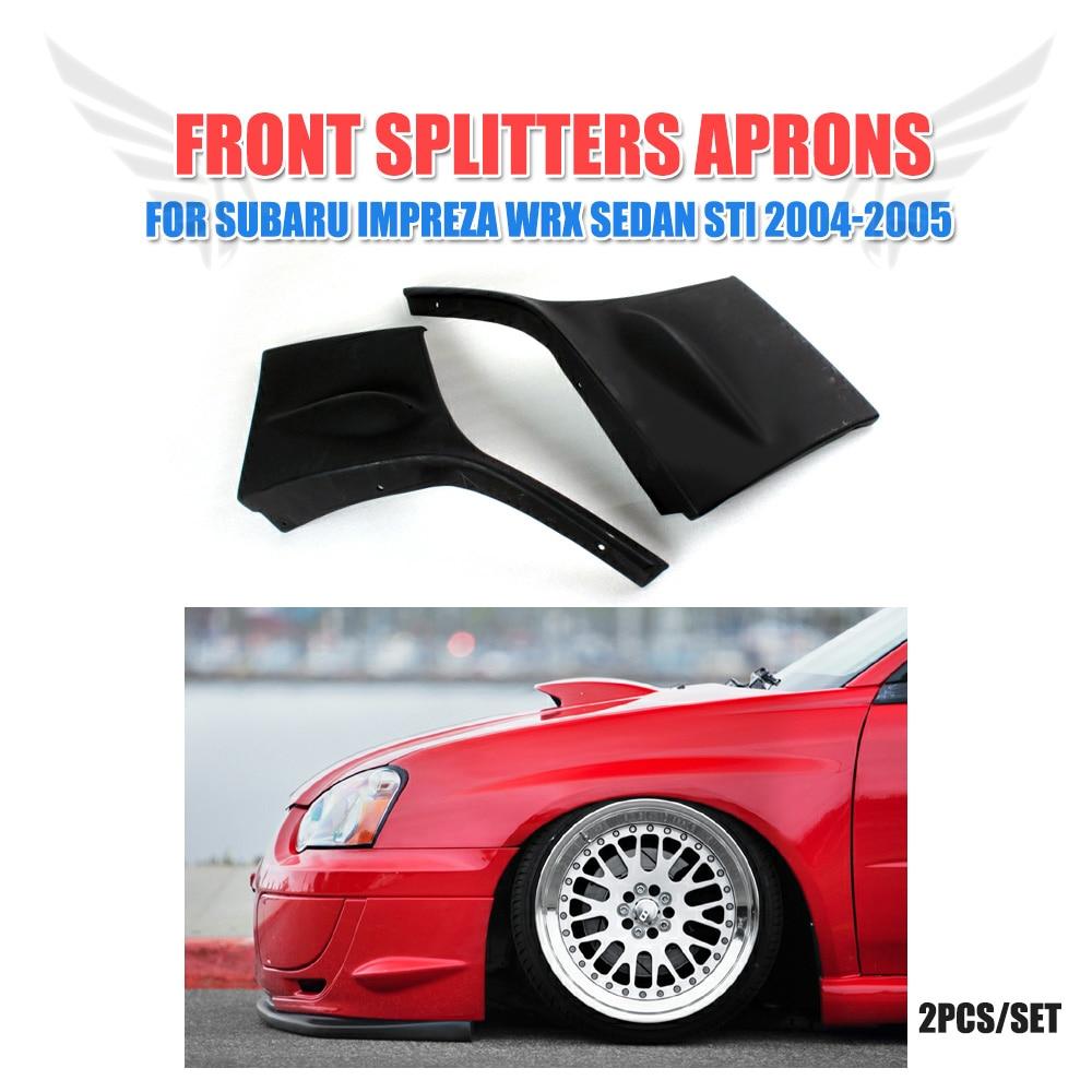 Front Bumper Splitters Side Chin Lips Spoiler for Subaru Impreza WRX Sedan STI 2004-2005 2PCS/Set PU Black Car Styling цена