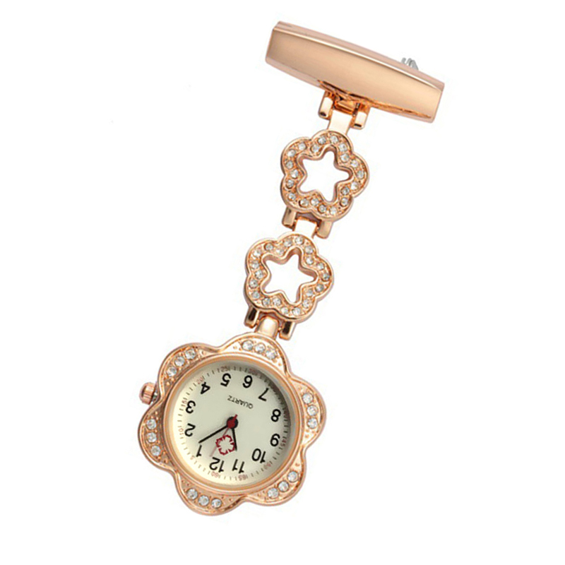 Fashion Fashion Women Pocket Watch Clip-on Heart/Five-pointed Star Pendant Hang Quartz Clock For Medical Doctor Nurse Watches HS