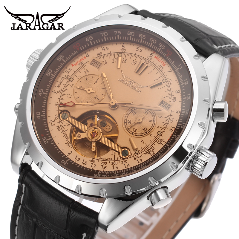 JARAGAR Brand Luxury Tourbillon Automatic Mechanical Watches Leather Men Business Casual WristWatch Gift Box Relogio Releges jaragar top brand tourbillon automatic mechanical diamond dial clock wtaches men classic luxury business leather wristwatch uhr