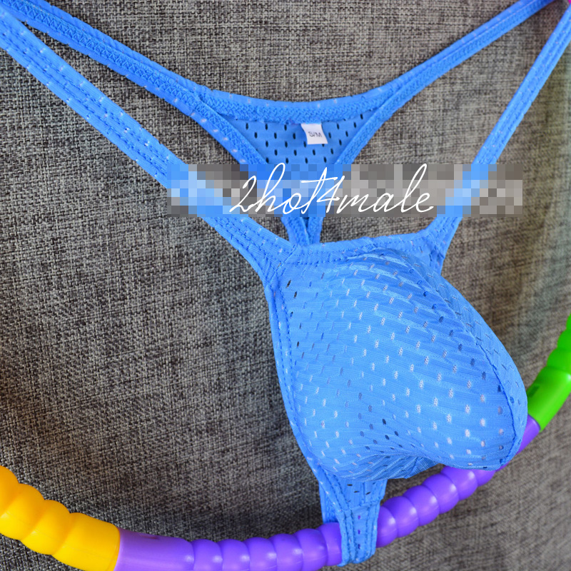 Mens-Eyelet-String-Thong-Bulge-Pouch-T-back-Underwear