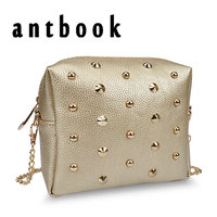 New Fashion Punk Rivet Women Handbag Shoulder Bag PU Leather Solid Color Chain Bag Designer Luxury