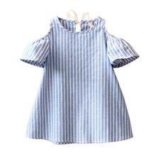 Летнее платье для маленьких девочек с открытыми плечами Синий Полосатый платья Infantil Vestidos платье