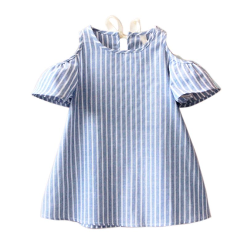 Summer Baby Girls Dress Off Shoulder Blue Striped Dresses Infantil Vestidos Dress