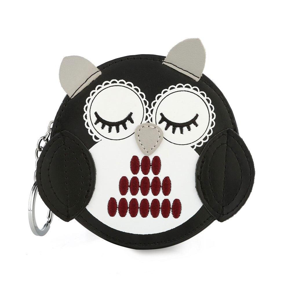 Kids Girls Cute Cartoon Owl Shape Faux Leather Coin Purse Zip Small Wallet Pouch