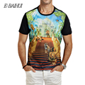E Baihui 2016 new Summer Fashion Men Slim Short Sleeve T shirt Swag Clothing O-NECK men black 3D printed lion T Shirts y003