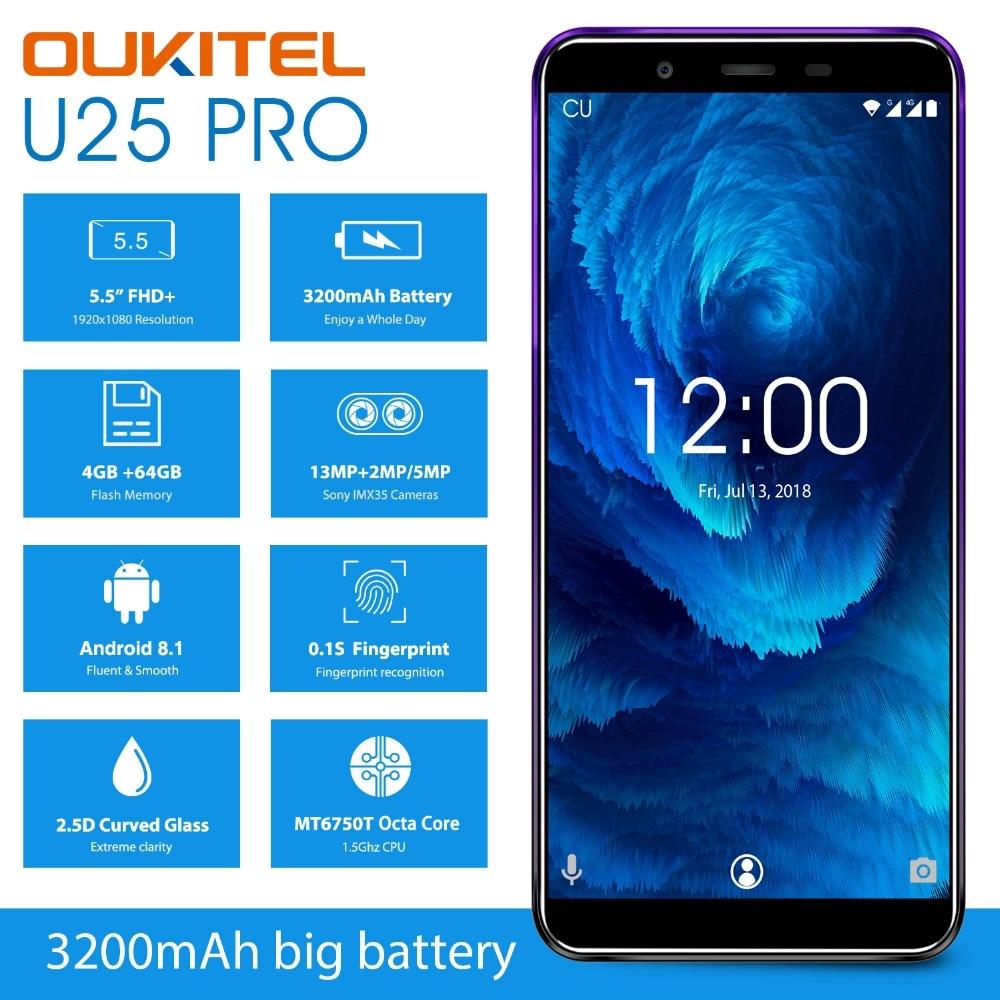 "OUKITEL U25 プロ 5.5 ""FHD MTK6750T オクタコアの携帯電話 4 ギガバイトの RAM 64 ギガバイト ROM アンドロイド 8.1 デュアルカメラ指紋 4 4G LTE スマートフォン  グループ上の 携帯電話 & 電気通信 からの 携帯電話 の中 2"