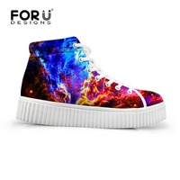 Flats Platform Shoes For Women Galaxy Space Creepers Wedge Shoes Lace Up STAR Loafer Girls Skateboarding