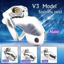 HTV3 Stainless Steel Chastity Cage Device Belt Male Cock Ring Penis Trainer CBT Cockring Metal Erotic Sex Toys For Men
