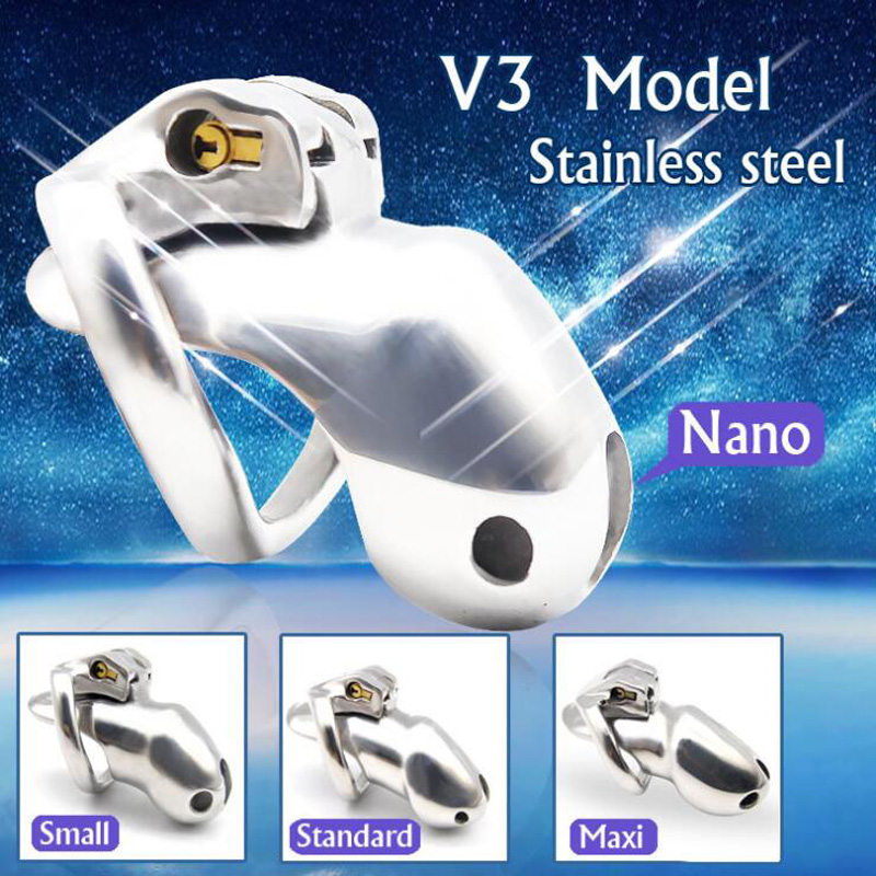 HTV3 Stainless Steel Chastity Cage Device Chastity Belt Male Cock Ring Penis Trainer <font><b>CBT</b></font> Cockring Metal Erotic <font><b>Sex</b></font> <font><b>Toys</b></font> <font><b>For</b></font> <font><b>Men</b></font> image