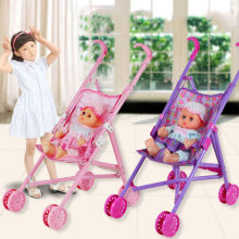 Pink Baby Stroller Trolley Nursery Furniture Toys Girl Doll Accessories Pretend Play Educational Toy Cosplay Gift For Children(China)
