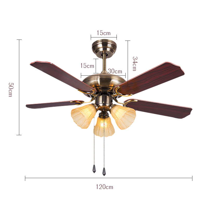 TINTON LIFE 42 Inch European Style Ceiling Fan Lamp Bedroom Living Room Dining Room Fan Light Fan With Three Lights