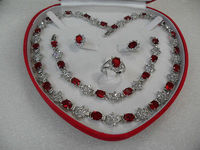 frenzy women's jewellery red new white gold necklace set gift+box >free shipping