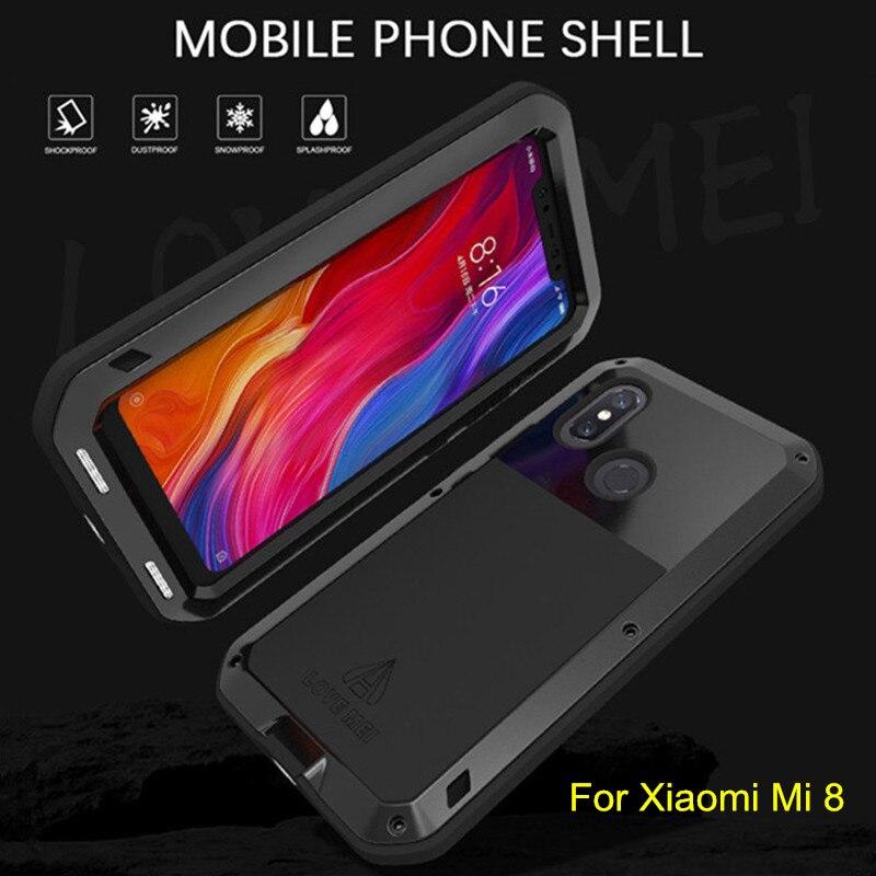 LOVEMEI puissant boîtier étanche en métal pour Xiao mi mi 8 mi 8 Alu mi num armure antichoc coque arrière Protection complète du corps coque de téléphone