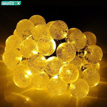 30 LEDs Crystal Ball Solar Powered String Light Globe Fairy Lights for Outdoor Garden Christmas Holiday Decoration Warm White