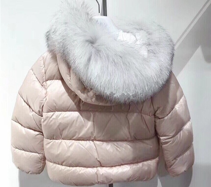Girls winter down jacket solid pink color real fox collar girls outwear stand collar zip up color block splicing design down jacket