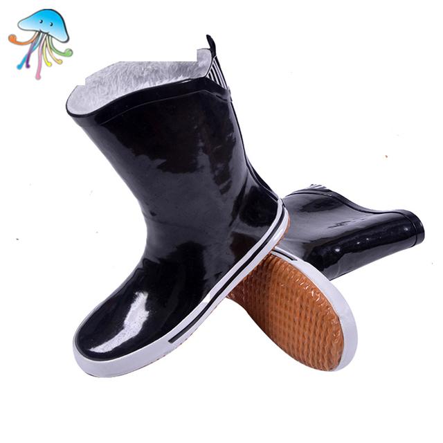 Wikileaks Casais Sapatos de Água Rainboots Moda Novo E Elegante WithFur Calçado Quente no Outono Inverno Cor Preta Mulheres Botas de Chuva