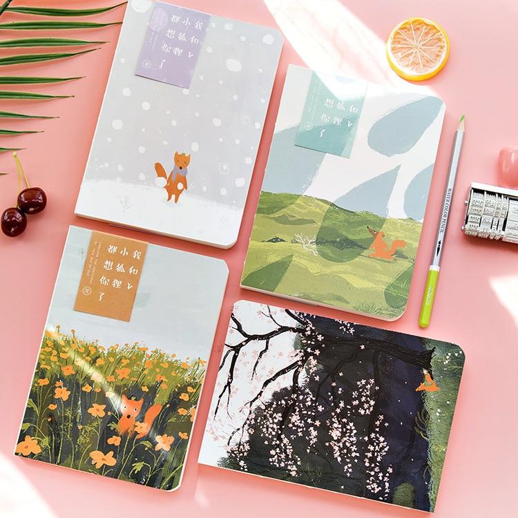 beautiful cute cartoon little fox blank pages notebook a5
