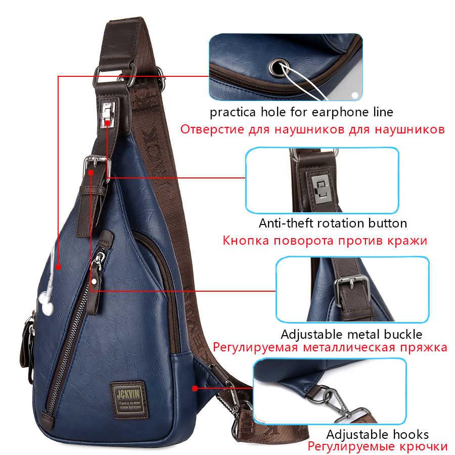 JackKevin Mens Chest Bags Fashion  Man Messenger Bag Theftproof Rotatable Button Open Travel Crossbody Bag Man Waist Pack