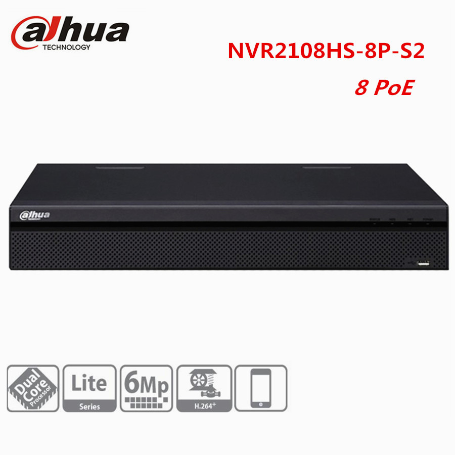Dahua CCTV NVR 8CH 8PoE NVR2108HS 8P S2 up to 6Mp Onvif video recorder HDMI HDD