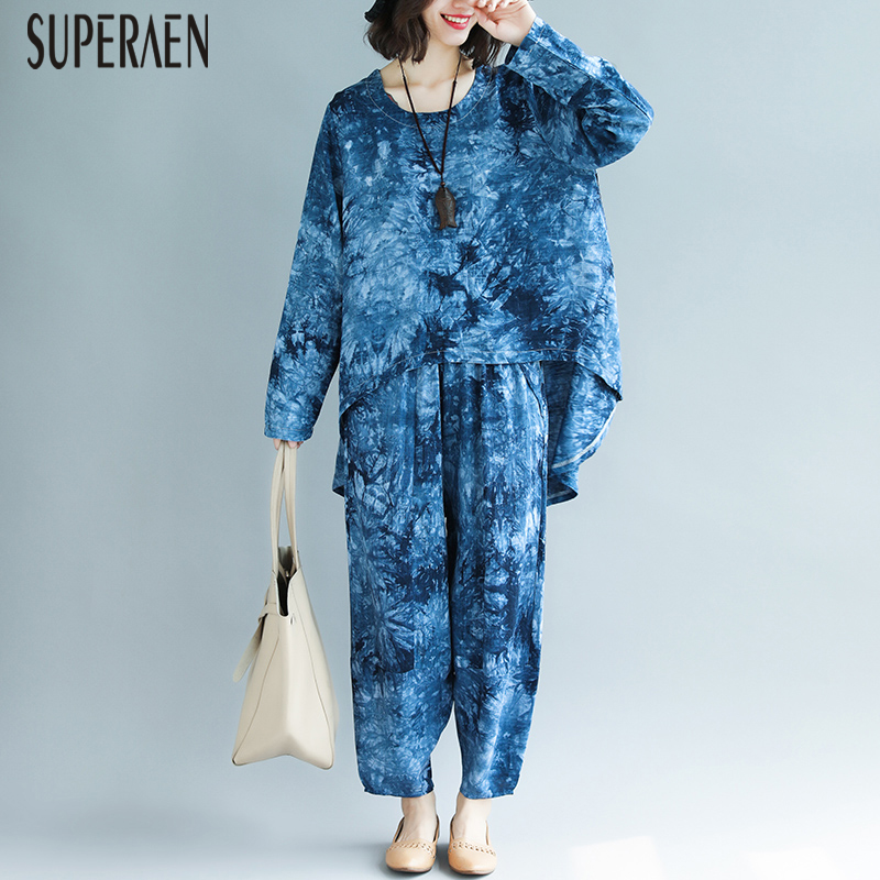SuperAen Cotton and Linen Pluz Size Loose Women's Sets Summer New 2019 Irregular Shirt Casual Fashion Wide Leg Pants Two-piece