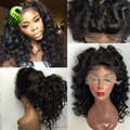 Deep Curly Silk Base Full Lace Wig Glueless Silk Top Lace Front Wigs Brazilian Virgin Hair Full Lace Human Hair Wigs Black Women