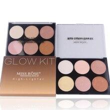 MISS ROSE Maquiagem Rosto Compacto Brilho Kit Marcador 6 Cores Studio Fix Bronzer Contour Shading Pressionado Paleta Pó Mineral