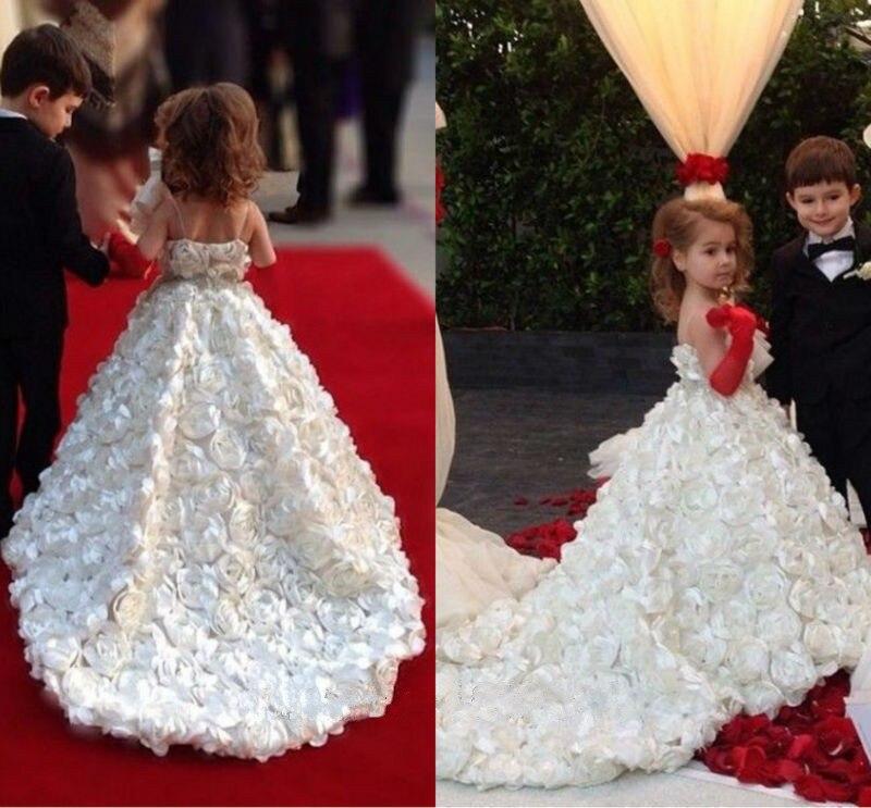 2017 девочек Белый Кот Паффи цветочница платье с поезд Принцесса первое причастие Платье на заказ любой размер