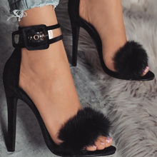 11cm High Heels Sandals Footwear Fur Ankle Strap Gladiator