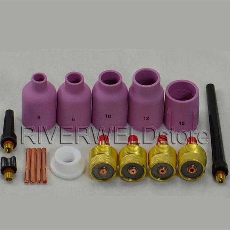 TIG LG Diameter Gas Lens Collet Body Ceramic Shield Cup KIT Fit TIG Welding Torch SR WP 9 20 25 Consumables Accessories,17PK 48 pcs tig welding kit gas lens for tig welding torch wp 9 wp 20 wp 25 wz8 3 32