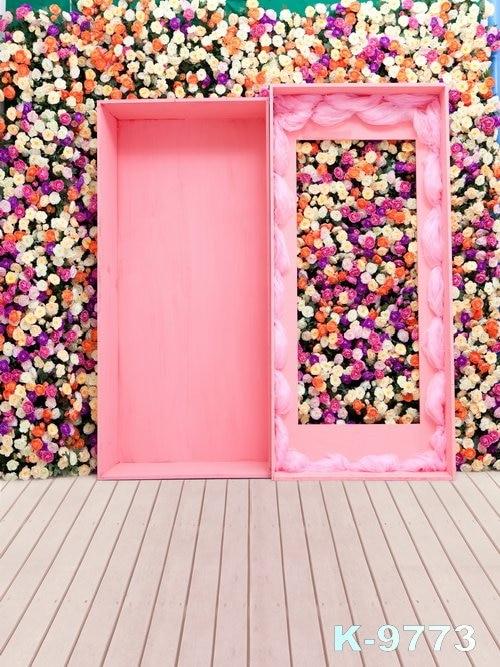 FLOWER téma Foto fotografický 5x5ft růžový dům dřevěné - Videokamery a fotoaparáty - Fotografie 6