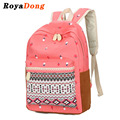 RoyaDong 2017 Spring New School Backpack Canvas Flowers Printing Lace Decoration School Bag For Teenage Girls