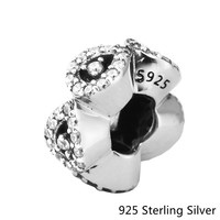 CKK Authentic 925 Sterling Silver Jewelry Open Bangle Caps Fashion Charms Beads Fits Pandora Bracelets
