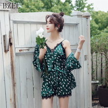 BZEL Sleep Lounge Women Pajamas Sets With Chest Pad Summer Satin Sleepwear Women Casual Pyjama Femme Indoor Clothing 3 Pieces