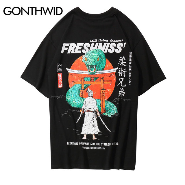 GONTHWID Japanischen Samurai Gedruckt Kurzarm T Shirts 2019 Sommer Harajuku Hip Hop Männer Casual T-shirts Streetwear Männlichen Top Tees