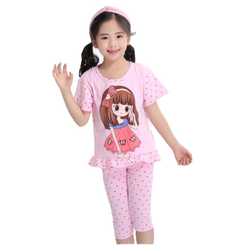 Summer Children Short Sleeved Pajamas Children Pure Cotton Suite Children Cartoon Girls Home Clothes Summer Clothes Sleepwear & Robes