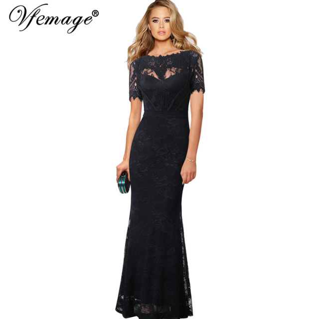 fe814ba5cc Vfemage Women Vintage Elegant See-Through Scallop Floral Lace Formal Evening  Prom Mermaid Long Gown Wedding Party Maxi Dress 013