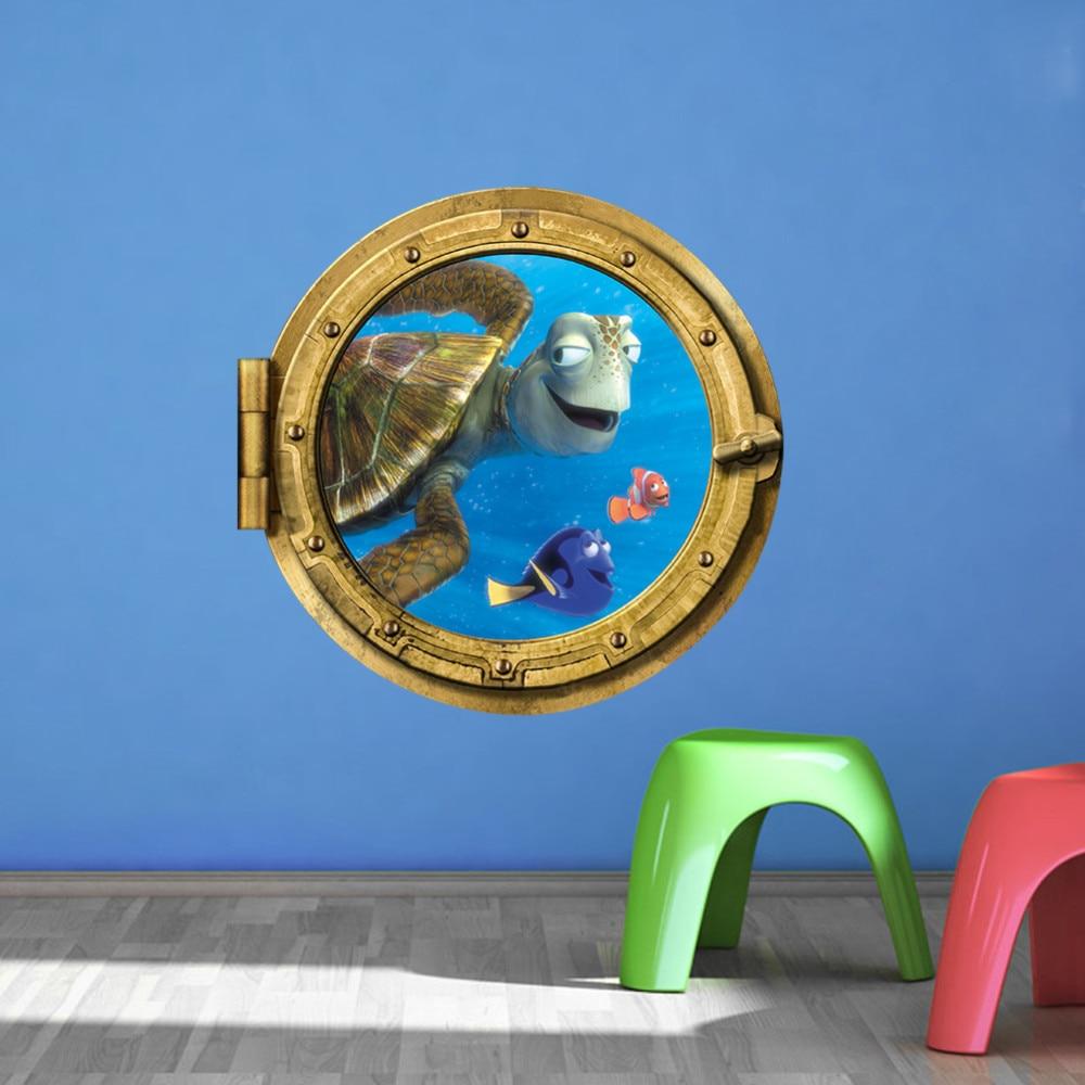 Bathroom wall art sea - Ocean View Tortoise Fish 3d Wall Sticker Bathroom Decals Sea Wall Art For Kids Rooms Diy