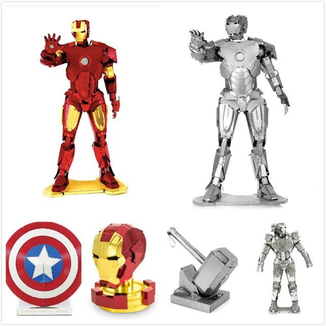 6 pçs/set Marvel Avengers Homem De Ferro de Metal Puzzles DIY 3D Kits Modelo Jigsaw Crianças Adultos Brinquedos Figura Presente de Corte A Laser caixa de Jogo de Tabuleiro