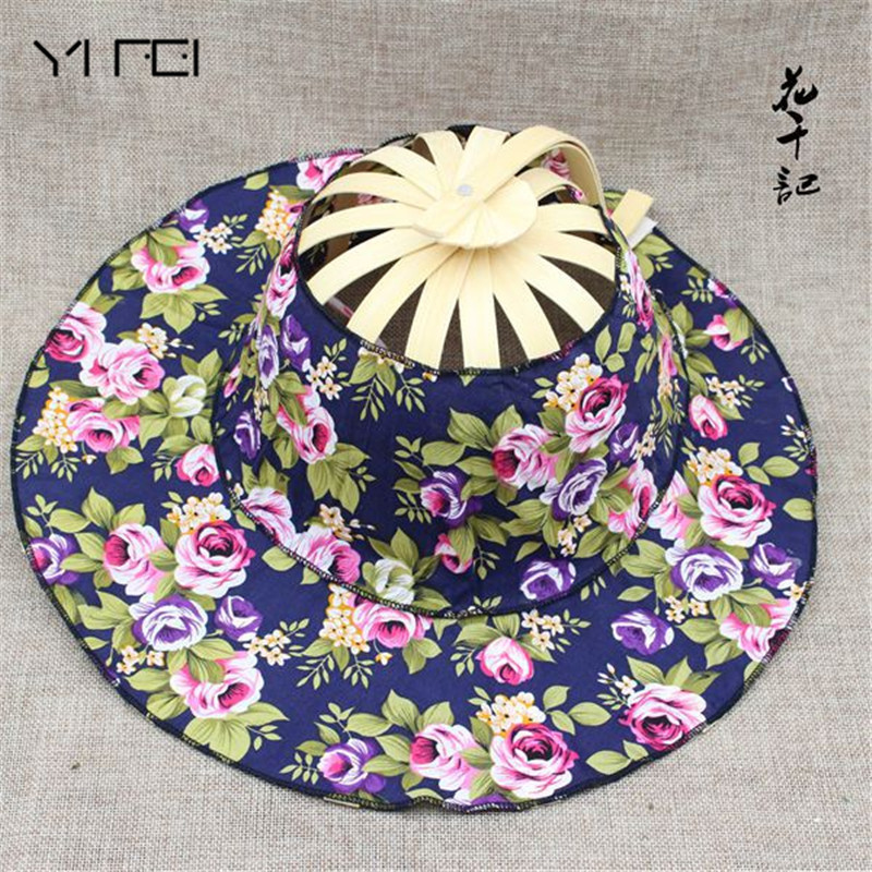 Folding Fan New Arrive Hand Held Folding Fans Traveling Cap Summer Women Girl Sun Hat Bamboo Dancing Fan  Floral Cloth Cap