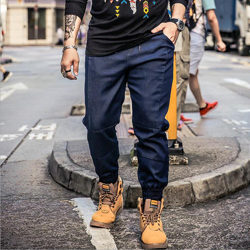 2018 Men Jeans Tide brand Casual Large Size Loose Blue Jeans Stretch Denim Cropped Pants Trousers Classic Young Men 5XL 41
