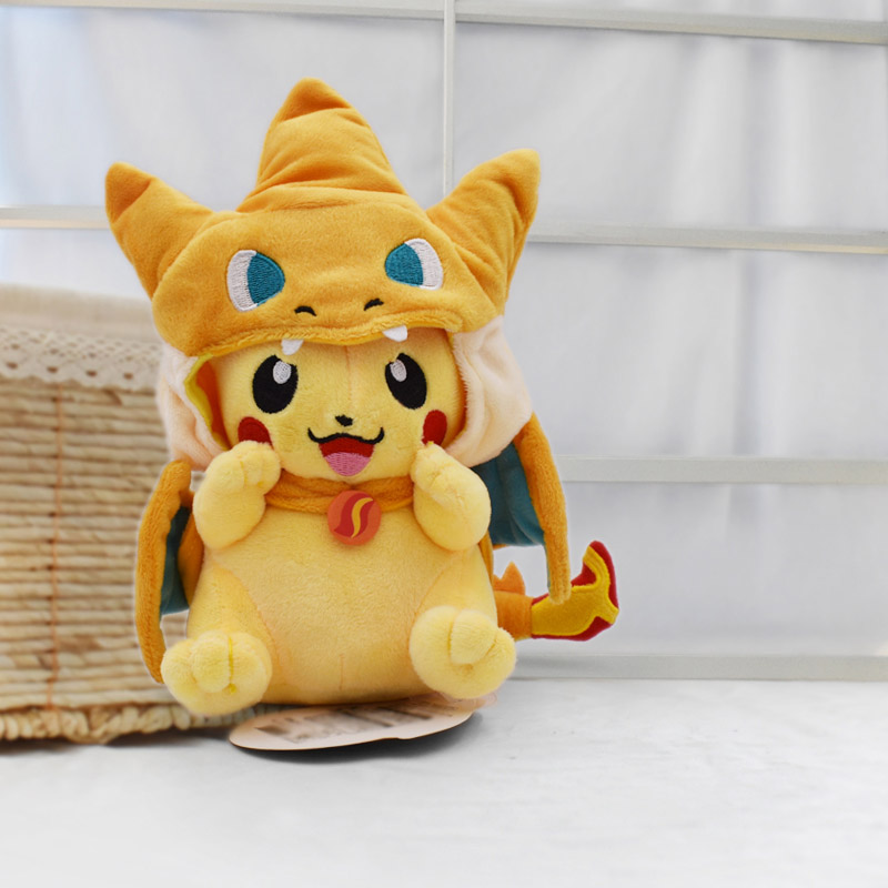 Kawaii Pikachu Cosplay Charizard 25cm Cartoon Anime Plush Toy For Children Peluche Soft Stuffed Dolls Gift For Kid Free Shipping