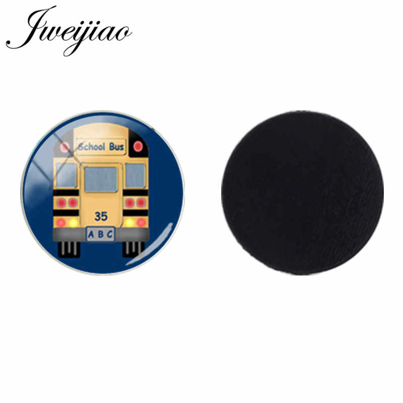 JWEIJIAO 25mm Glass Dome Beads I Love London Travel School Bus Sticker Fridge Magnet For Kids Gift Jewelry Findings H209