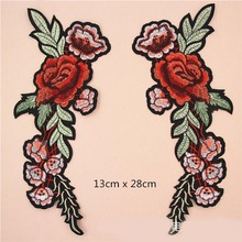hot deal buy fabric embroidered long rose flower patch clothes sticker bag sew iron on applique diy apparel sewing clothing accessories bu133