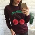 Autumn Winter Cherry Printed Women Hoodies New Fashion Colorful Plush Ball Sweatshirts Long Sleeve Casual Tracksuits 63571