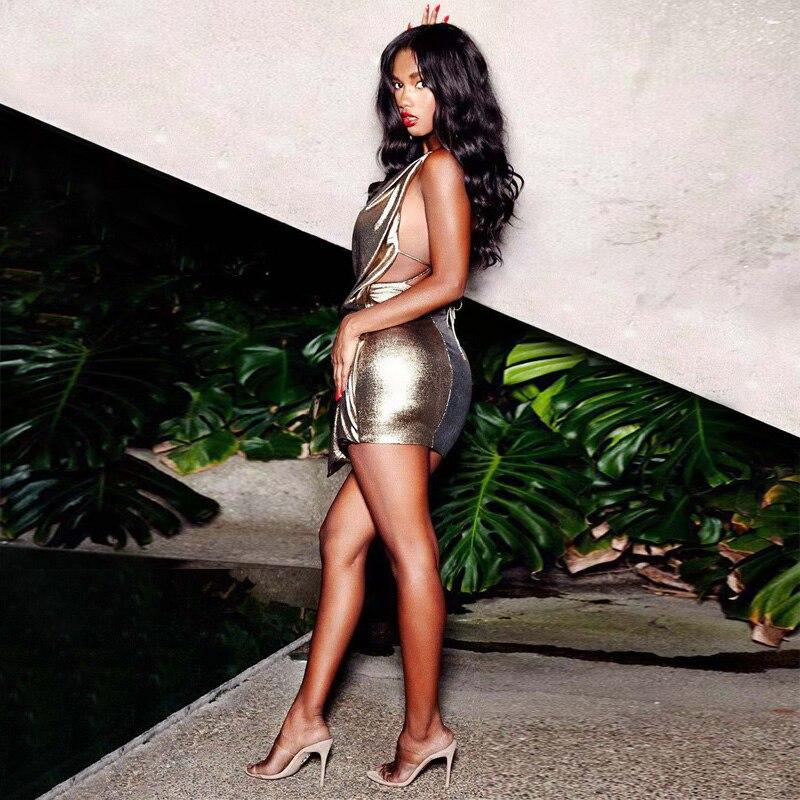 Nouvelle mode or femmes Sexy robe de haute qualité en cuir PU Spaghetti sangle dos nu Clubwear Mini fête Dess Vestidos en gros