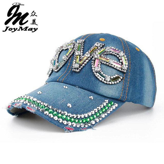 Joymay 2015 New Fashion Colorful Glasses Letter Diamante Jean Denim Baseball Cap  Women Outdoor Adjustable Snapback Cap B265-270
