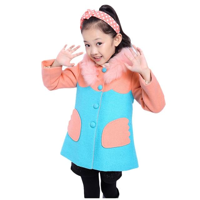 Cute Winter Jacket For Girls Removable Fake Fur O-Neck Collar Abrigo Lana Nina Thicker Girl Woolen Coat Children Outerwear