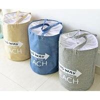 Linen Zakka Storage Laundry Basket Storage Bag Blue Grey Khaki Beach Tote Large Capacity With Handle