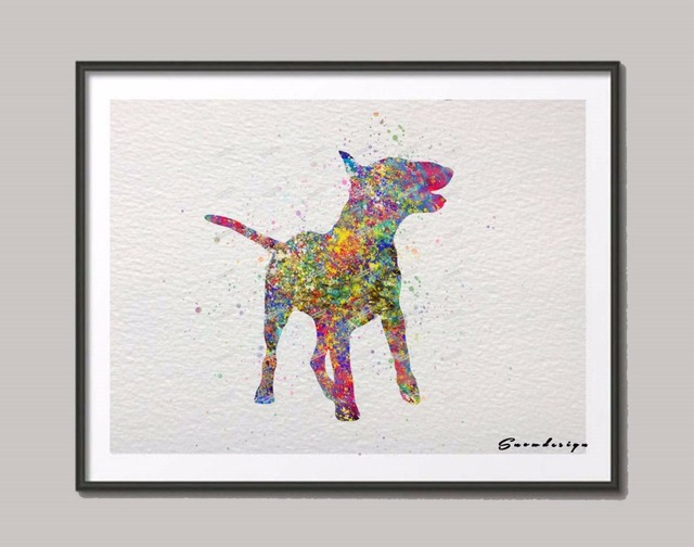Original English Bull Terrier Watercolor Canvas Painting Dog Wall Art  Poster Print Pictures Living Room Decor